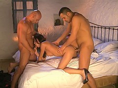 Exotic pornstar in amazing threesome, blowjob adult movie