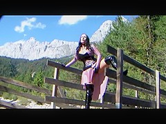 Austria Latex Dream Princess - Outdoor Blowjob Handjob with Black Latex Gloves - Cum on my Tits