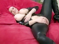 SEXY RED HEAD AMATEUR GOTH GIRL WITH BIG TITS SUCKS FUCKS AND RIDES A COCK