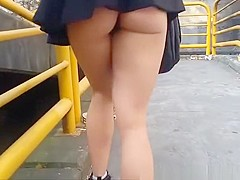 Sexy ass flashing in street and supermarket