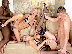 Joachim Kessef & Cameron Angel & Steve QUlrika in Slutty Blondes Want Black And White Cocks At The S