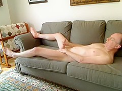On The Couch Stroking My Hard Cock And Cumming!