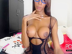 Big ebony cock transgirl jerking in lingerie outfit