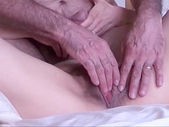 Hubby finger fucks and doggy fucks hairy pussy mature wife
