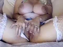Hot blonde has enourmous tits and loves turning you on with
