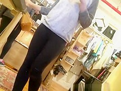 Black leggings nice ass and down blouse