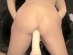 Pov - Wife Takes Huge Dildo Machine Deep Cums With Anal Beads