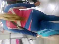 Blonde woman in tight sports outfit