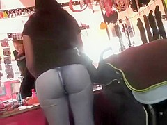 Round ass in tight jeans pants