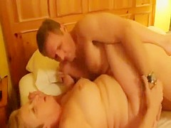 Mature BBW with awesome love handles sucks cock as...
