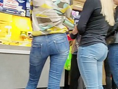 Hot blondes with nice asses in food court
