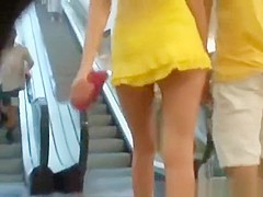 Hot long hair blonde upskirted in the shopping