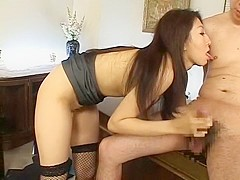 Crazy Japanese whore Kyoko Kashii in Fabulous Secretary, Stockings/Pansuto JAV video