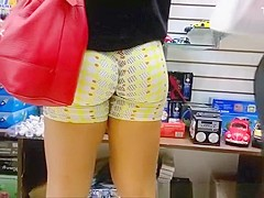 Sexy ass girl in spandex shorts