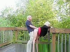 Mature couple fucking in public place