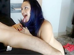 Sexy colombian hairjob and cum in hair  long hair  hair