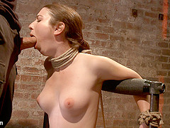 Local Girl Next Door Bound Up Tight & Helpless, Flogged, Nipple Clamped, Made To Suck Cock, & Cum -