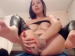 Big natural tits girl easily fist her pussy