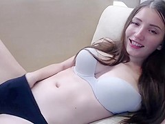 college girl brunette masturbates with vibrator in her ass