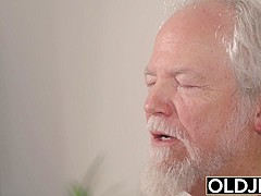 Teen Interrupts Grandpa from Yoga And Sucks his Cock