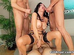 Fabulous pornstars Mark Wood, Anthony Rosano, Marco Banderas in Horny Brunette, Anal porn scene