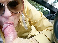 Milf in thigh boots hitch hiker blowjob