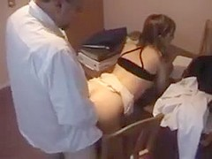 Teacher and student have sex with cum on her ass