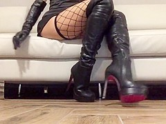 The slave with new high boots for you