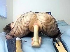 Hot Babe CL in fishnet fucks with dilfo and bf