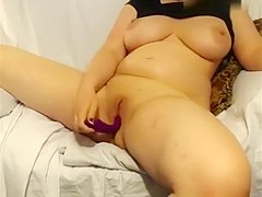 Big Breasted Blonde Housewife Brings Her Peach To Climax On