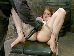 18 Years Old With Huge Natural Tits Is Bound, Made To Cum Big Tits Brutally Tied And Punished. - Hog