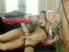 Short Hair Blond In Red Boots Gets Dp And Facial