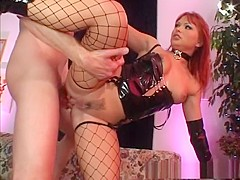 Incredible pornstar Katja Kassin in fabulous fishnet, facial sex movie