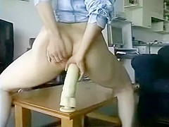 Bad Girl Rides An Enormous Dildo In Her Pooper
