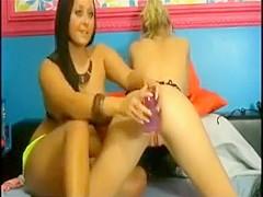 2 women playing on camera 2