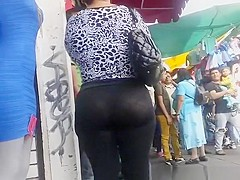 Big ass mature woman in see through leggings