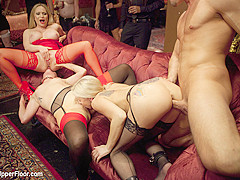 Aiden Starr & Bill Bailey & Claire Robbins & Christie Stevens in Ass Eating Slap Fight Anal Foursome