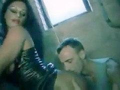 Busty babe in latex gets fucked