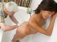 Asian college girl visits old man to fuck !