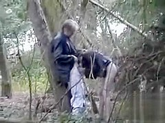 Amateur blowjob video filmed way out in the woods
