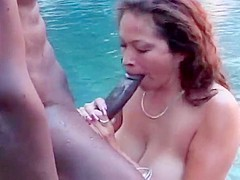 Busty saki sucks bbc in pool