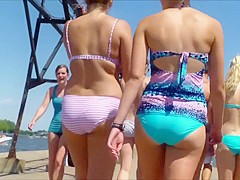 Sweet thing makes her buttocks jiggle as she walks around