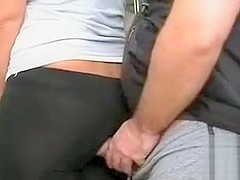 Horny man sticks his dick between his girlfriend's buttocks