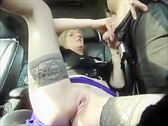 Dogging milf gives handjobs in her parked car