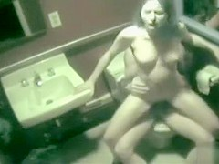 Security cam captures couple fucking in restroom