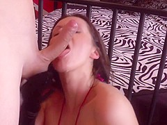 german milf gives wet blowjob in a horny performance