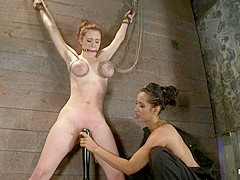 19yr Old With Huge Natural Tits Is Suspended To A Wallher Breasts Are Tied To Hold Up Her Legs. - Ho