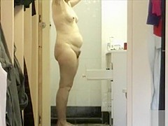 Friend's granny dries off her chubby body with a towel