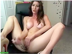 Attractive brunette girl with good breasts masturbating