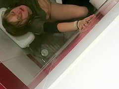 Saucy babe gets her pussy hammered in a public toilet